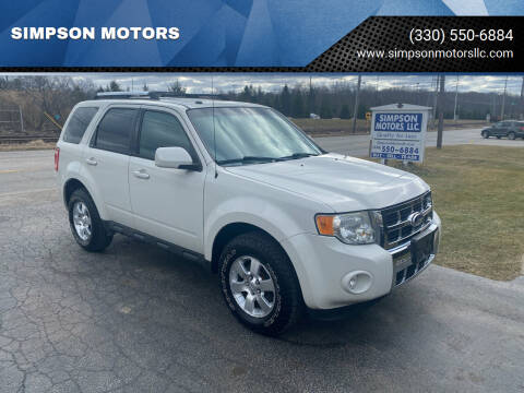 2010 Ford Escape for sale at SIMPSON MOTORS in Youngstown OH