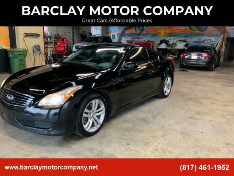 2010 Infiniti G37 Coupe for sale at BARCLAY MOTOR COMPANY in Arlington TX