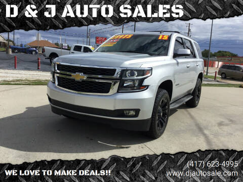 2015 Chevrolet Tahoe for sale at D & J AUTO SALES in Joplin MO