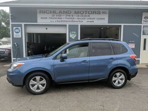 2015 Subaru Forester for sale at Richland Motors in Cleveland OH