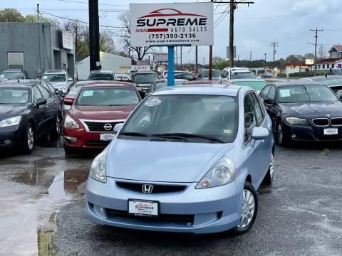 2008 Honda Fit for sale at Supreme Auto Sales in Chesapeake VA