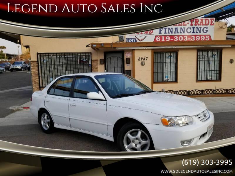 2001 Toyota Corolla for sale at Legend Auto Sales Inc in Lemon Grove CA