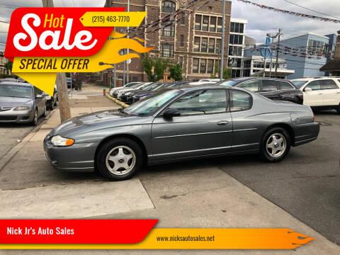2004 Chevrolet Monte Carlo for sale at Nick Jr's Auto Sales in Philadelphia PA