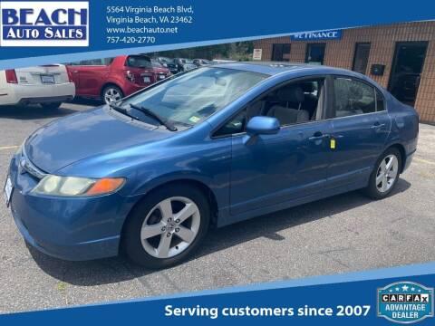 2006 Honda Civic for sale at Beach Auto Sales in Virginia Beach VA