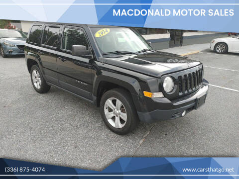 2014 Jeep Patriot for sale at MacDonald Motor Sales in High Point NC