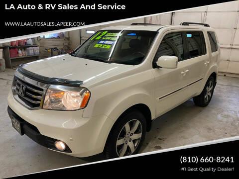2012 Honda Pilot for sale at LA Auto & RV Sales and Service in Lapeer MI