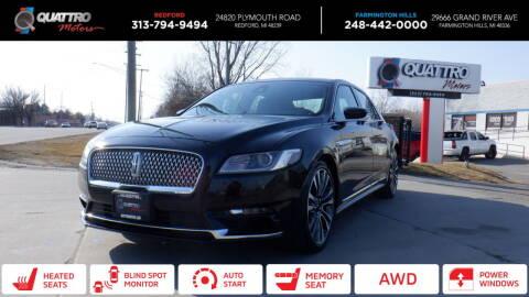 2017 Lincoln Continental for sale at Quattro Motors 2 - 1 in Redford MI