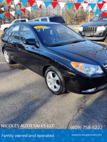 2010 Hyundai Elantra for sale at NICOLES AUTO SALES LLC in Cream Ridge NJ