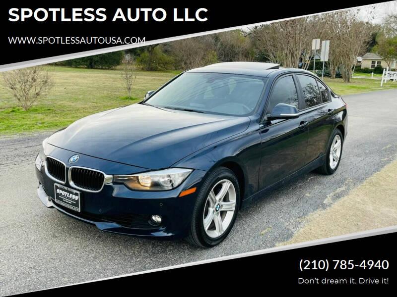 2015 BMW 3 Series for sale at SPOTLESS AUTO LLC in San Antonio TX