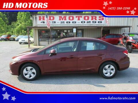 2013 Honda Civic for sale at HD MOTORS in Kingsport TN