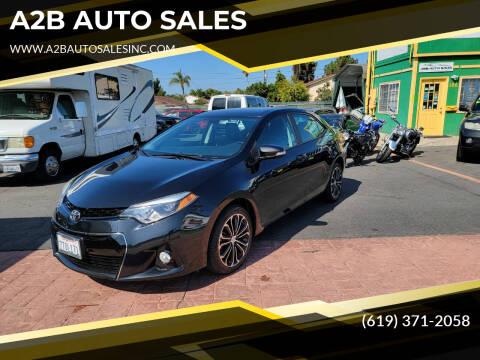 2016 Toyota Corolla for sale at A2B AUTO SALES in Chula Vista CA