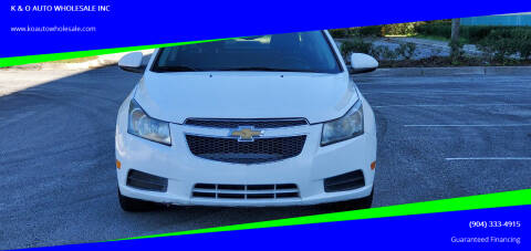 2013 Chevrolet Cruze for sale at K & O AUTO WHOLESALE INC in Jacksonville FL