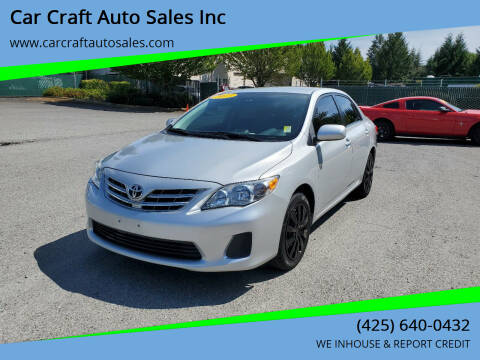 2013 Toyota Corolla for sale at Car Craft Auto Sales Inc in Lynnwood WA