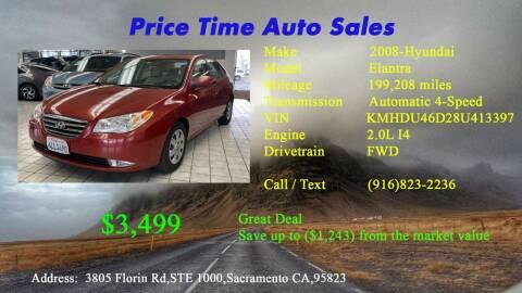 2008 Hyundai Elantra for sale at PRICE TIME AUTO SALES in Sacramento CA