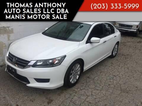 2013 Honda Accord for sale at Thomas Anthony Auto Sales LLC DBA Manis Motor Sale in Bridgeport CT