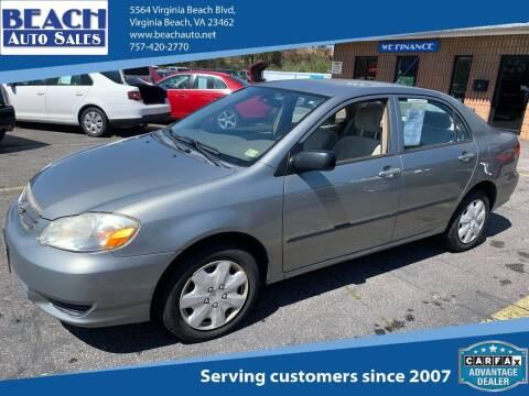 2003 Toyota Corolla for sale at Beach Auto Sales in Virginia Beach VA