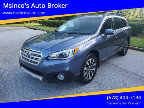 2015 Subaru Outback for sale at Msinco's Auto Broker in Snellville GA