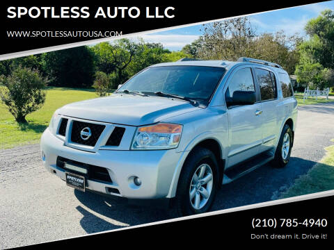 2013 Nissan Armada for sale at SPOTLESS AUTO LLC in San Antonio TX