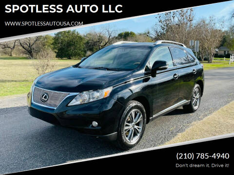 2010 Lexus RX 350 for sale at SPOTLESS AUTO LLC in San Antonio TX