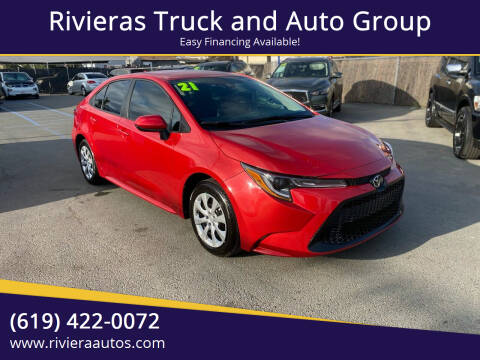 2021 Toyota Corolla for sale at Rivieras Truck and Auto Group in Chula Vista CA