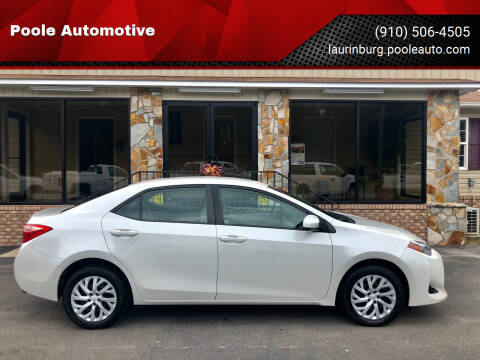2018 Toyota Corolla for sale at Poole Automotive in Laurinburg NC