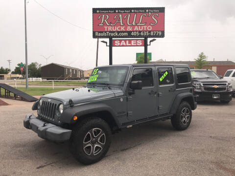2015 Jeep Wrangler Unlimited for sale at RAUL'S TRUCK & AUTO SALES, INC in Oklahoma City OK