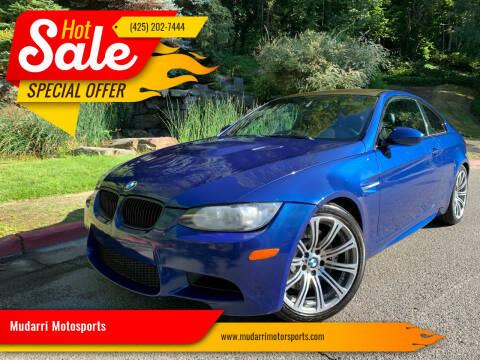 2012 BMW M3 for sale at Mudarri Motorsports in Kirkland WA