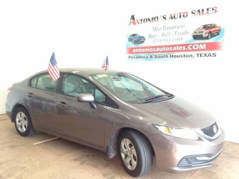 2015 Honda Civic for sale at Antonio's Auto Sales in South Houston TX