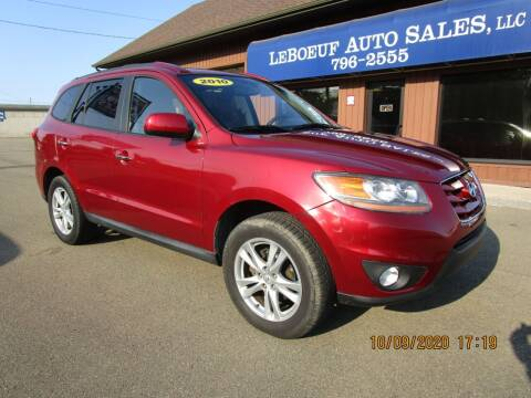 2010 Hyundai Santa Fe for sale at LeBoeuf Auto Sales in Waterford PA