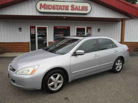2003 Honda Accord for sale at Midstate Sales in Foley MN