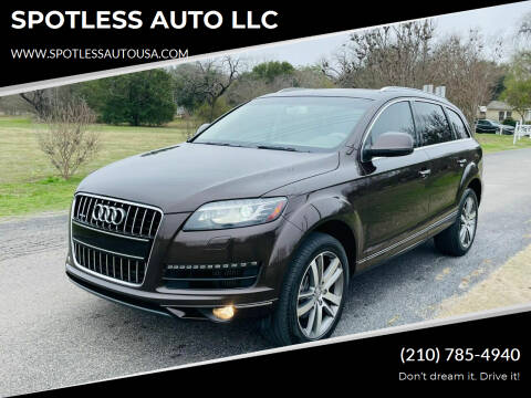 2013 Audi Q7 for sale at SPOTLESS AUTO LLC in San Antonio TX