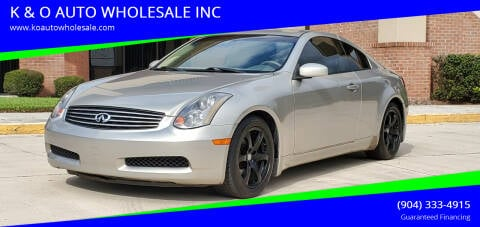 2004 Infiniti G35 for sale at K & O AUTO WHOLESALE INC in Jacksonville FL