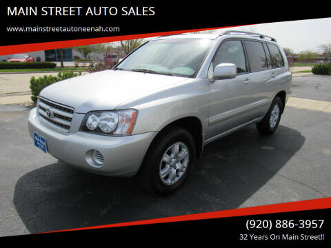 2002 Toyota Highlander for sale at MAIN STREET AUTO SALES in Neenah WI