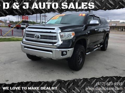 2014 Toyota Tundra for sale at D & J AUTO SALES in Joplin MO