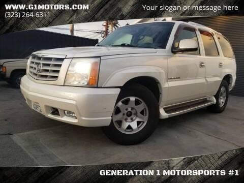 2003 Cadillac Escalade for sale at GENERATION 1 MOTORSPORTS #1 in Los Angeles CA