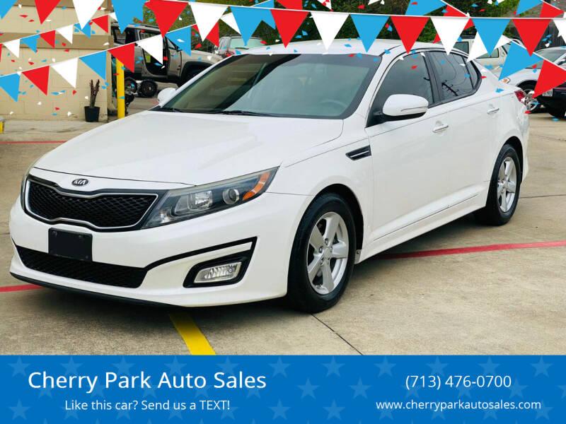 2015 Kia Optima for sale at Cherry Park Auto Sales in Houston TX