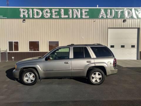 2002 Chevrolet TrailBlazer for sale at RIDGELINE AUTO in Chubbuck ID