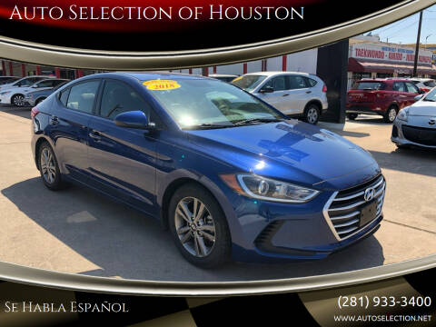 2018 Hyundai Elantra for sale at Auto Selection of Houston in Houston TX
