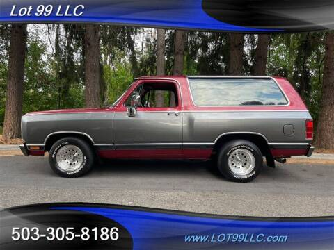 1984 Dodge Ramcharger for sale at LOT 99 LLC in Milwaukie OR