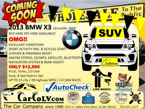 2013 BMW X3 for sale at The Car Company in Las Vegas NV