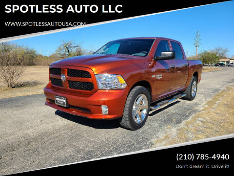 2013 RAM Ram Pickup 1500 for sale at SPOTLESS AUTO LLC in San Antonio TX