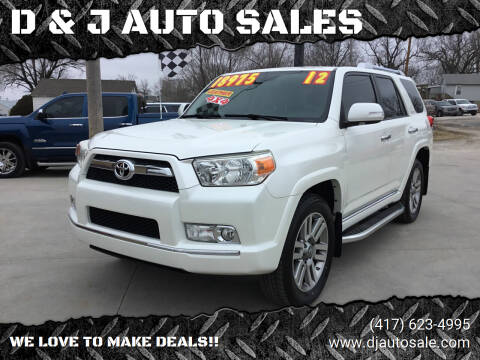 2012 Toyota 4Runner for sale at D & J AUTO SALES in Joplin MO