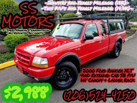 2000 Ford Ranger for sale at SS MOTORS LLC in Edmonds WA