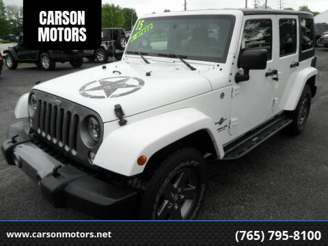 2015 Jeep Wrangler Unlimited for sale at CARSON MOTORS in Cloverdale IN