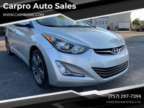 2015 Hyundai Elantra for sale at Carpro Auto Sales in Chesapeake VA