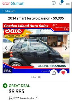 2014 Smart fortwo for sale at Garden Island Auto Sales in Lihue HI