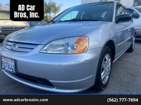 2003 Honda Civic for sale at AD Car Bros, Inc. in Whittier CA