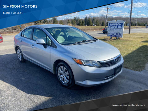 2012 Honda Civic for sale at SIMPSON MOTORS in Youngstown OH