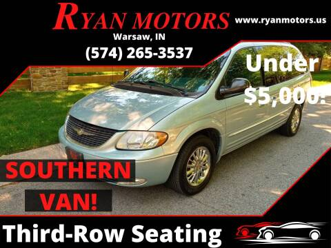 2002 Chrysler Town and Country for sale at Ryan Motors LLC in Warsaw IN