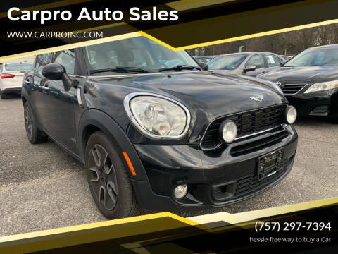 2011 MINI Cooper Countryman for sale at Carpro Auto Sales in Chesapeake VA